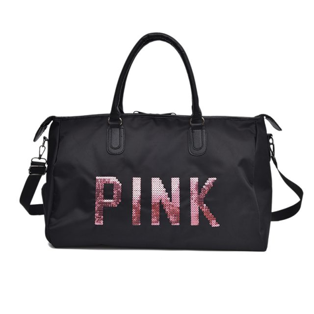 Travel Totes Bag Sequin PINK  Letters  Designed PU Leather Women Shoulder Travel Bag Large Capacity Luggage Travel Duffle Bags