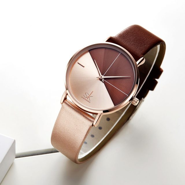 Leather Strap Women Wristwatch