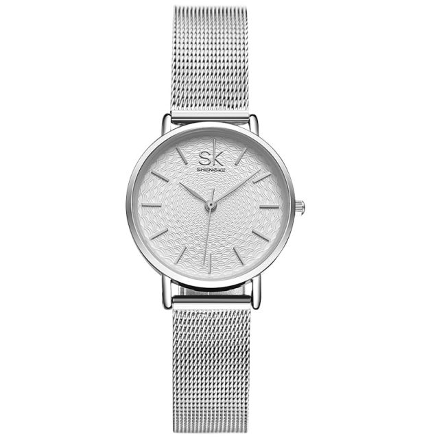 Super Slim Sliver Color Women Wristwatch