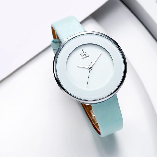 White Leather Strap Women Wristwatch