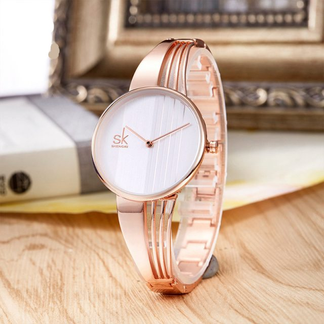 Rose Gold Watch for Women and Luxury Crystal Earrings Necklace Set
