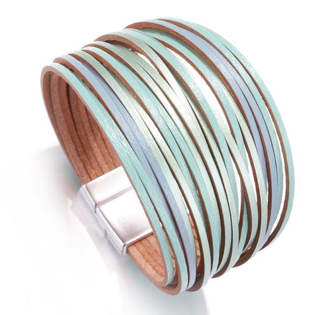 Amorcome Bohemian Leather Bracelets for Women 2019 Fashion Ladies Slim Strips Multilayer Wide Wrap Bracelet Female Jewelry Gift