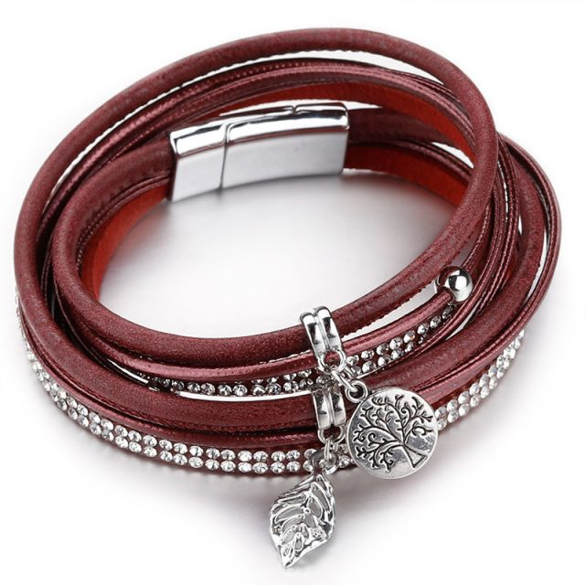 Amorcome Leather Bracelets For Women Tree of Life Charm Bracelets & Bangles Boho Multilayer Double Wrap Bracelet Female Jewelry