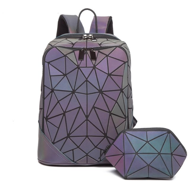 3pcs Fashion set Women backpack PVC holographic luminous backpack Ladies Back Pack girl Backpack bag envelope shoulder bag